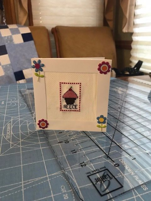 I am starting with June and going to try and post a small finish each month. This is a birthday card I stitched for my niece.