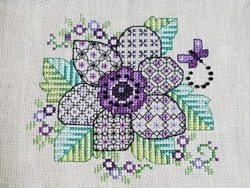 I started out with good intentions to stitch one small thing a month, but I have only done a few.  Here is Lesley Teare's Blackwork Anemone. Just needs to be framed.