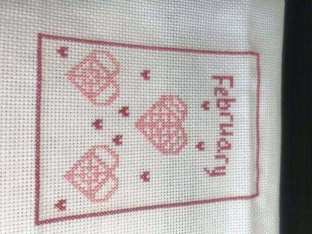 I finished all the stitching, with the exception of the Rhodes Hearts. I am to visit a LNS in north Alabama today and I am going to see if they have some cute little pink buttons. And I can't figure out why my picture appears here sideways, sorry. 18ct white Aida using WDW Begonia and DMC 3716.