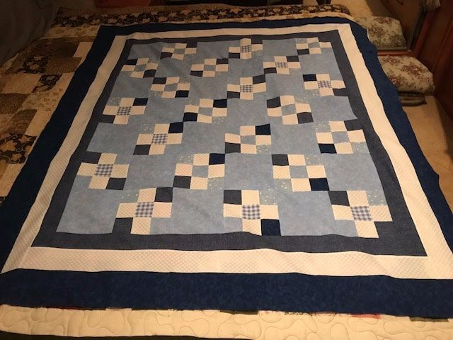 This is not a real good photo. A little baby quilt I just finished and need to get off to the long arm quilter.
