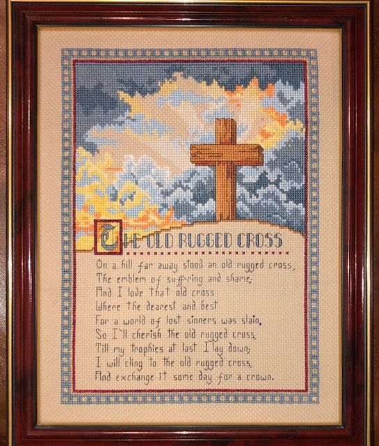 The Old Rugged Cross from Best Loved Hymns book which may have been Leisure Arts.  I am not completely sure.  This was stitched many years ago.  I ran across it earlier today and snapped a picture.