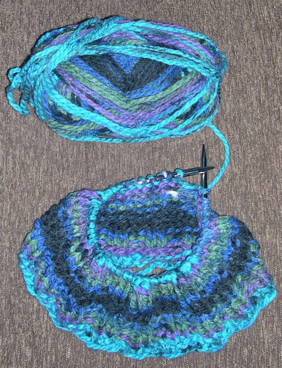 "Started my 3rd knit hat""Northern Lights"" Charisma..by Loops & ThreadsBulky yarn"