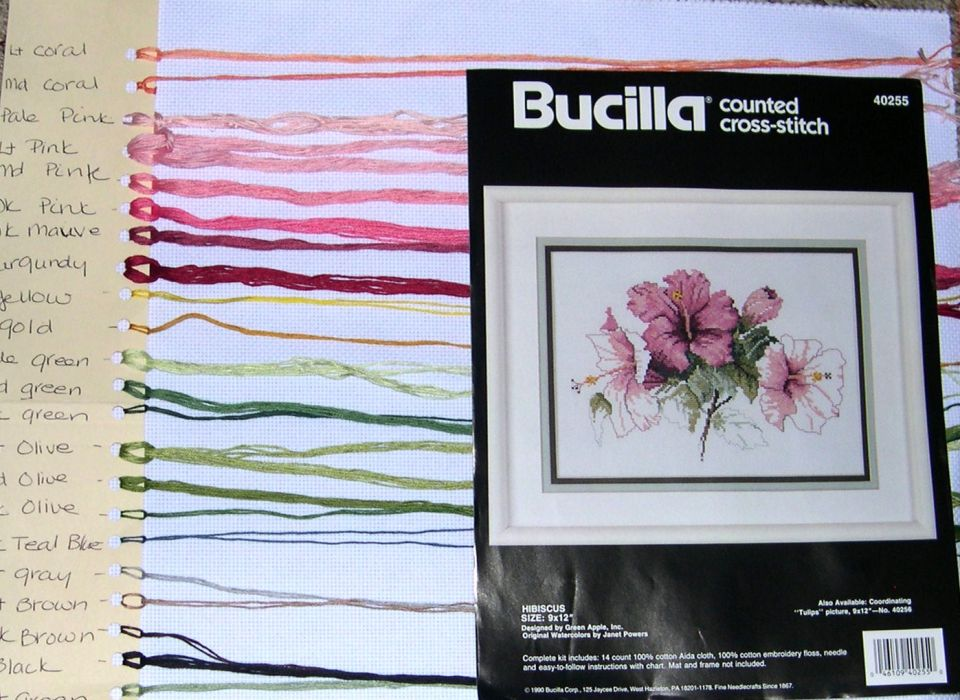 """A Bucilla kit""""Hibiscus""""Original Watercolors by Janet PowersReplaced the 14 count white Aida with a newer unfolded piece"""