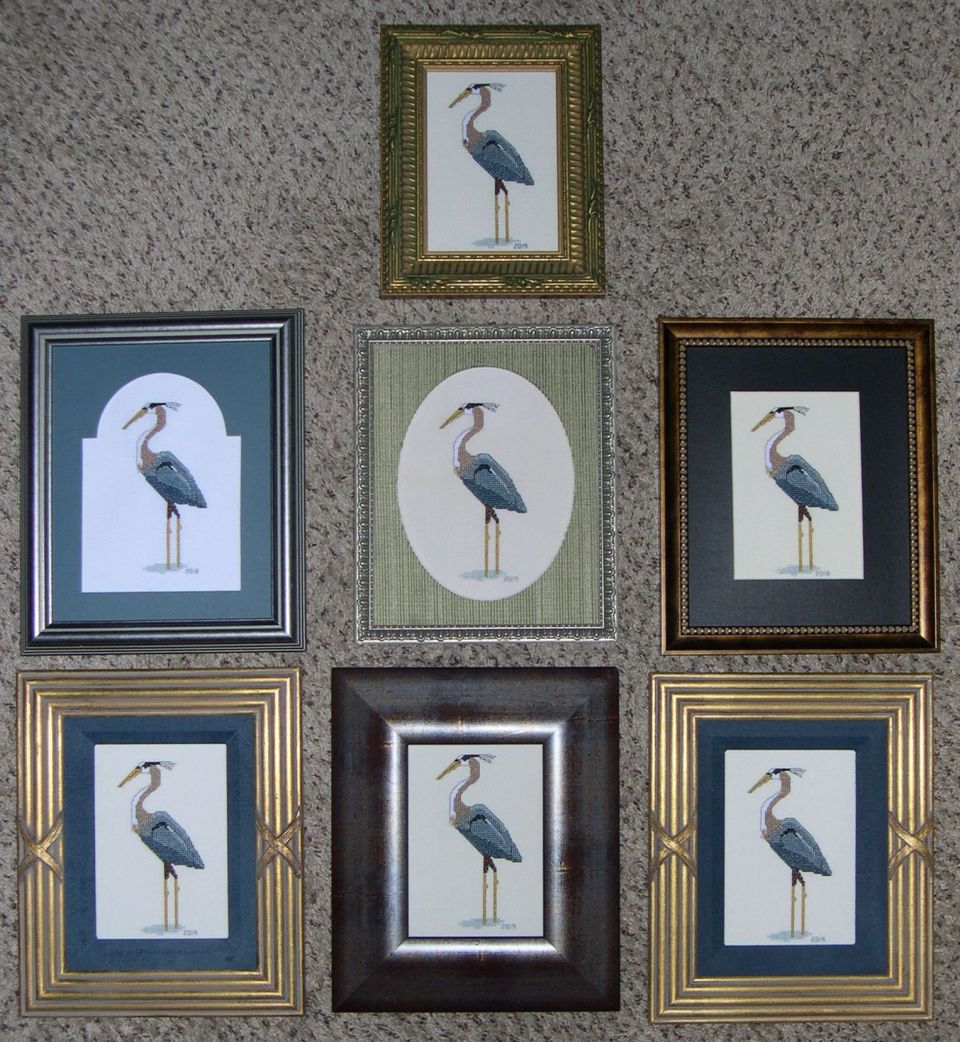 Stitching these herons one after another...frames from my thrift store shopping.  To be given away monthly at my community Ladies' Luncheon