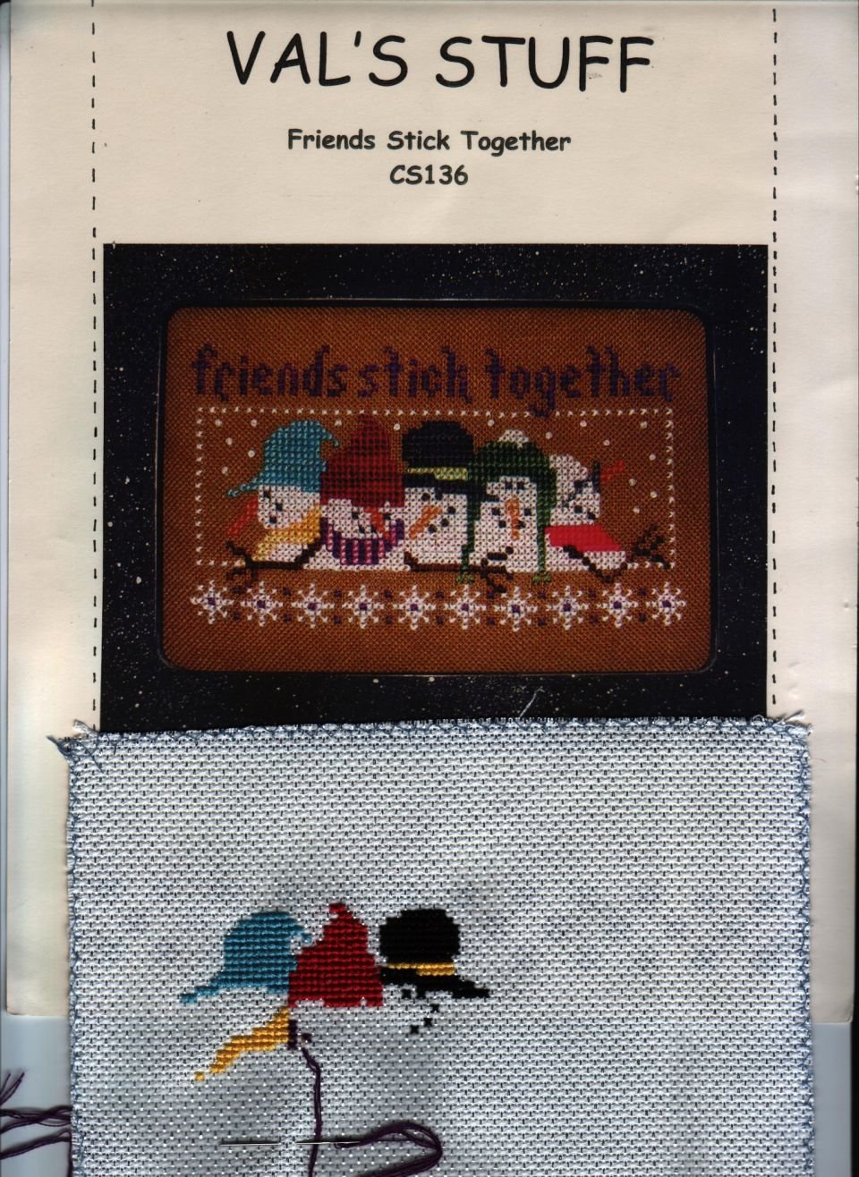 Friends Stick Together By Val's Stuffusing DMC floss on 14 count