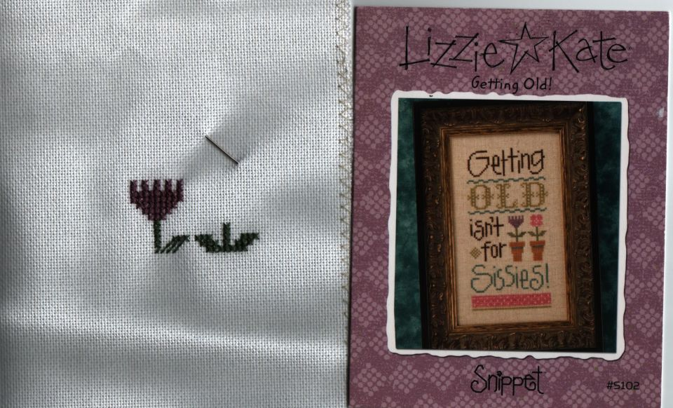 """Starting another small projectLizzie * Kate """"Getting Old""""28 countDMC flossstill practising stitching on linen"""