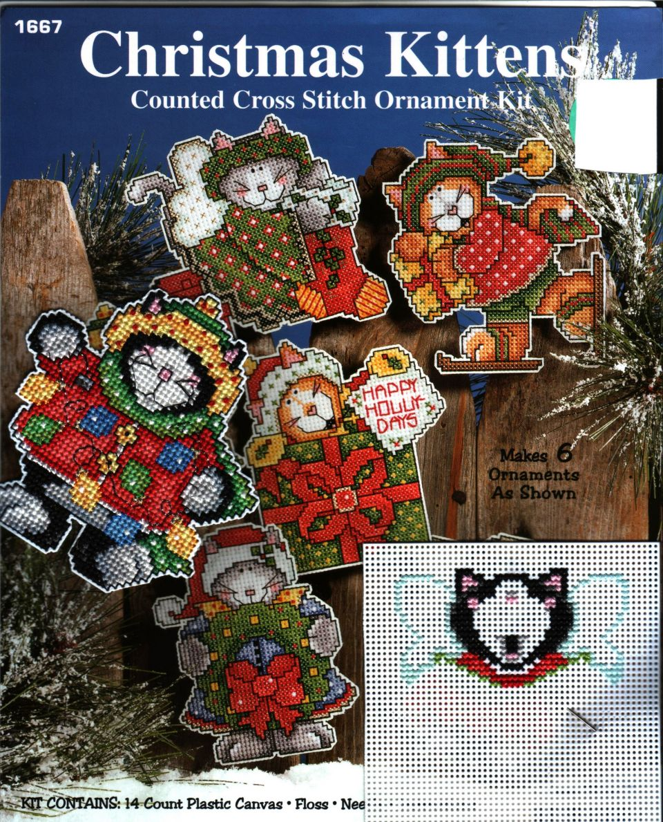 Christmas KittensDesigned by Joan Elliott14 Count Plastic Kit's flossHave stitched one of six kittens