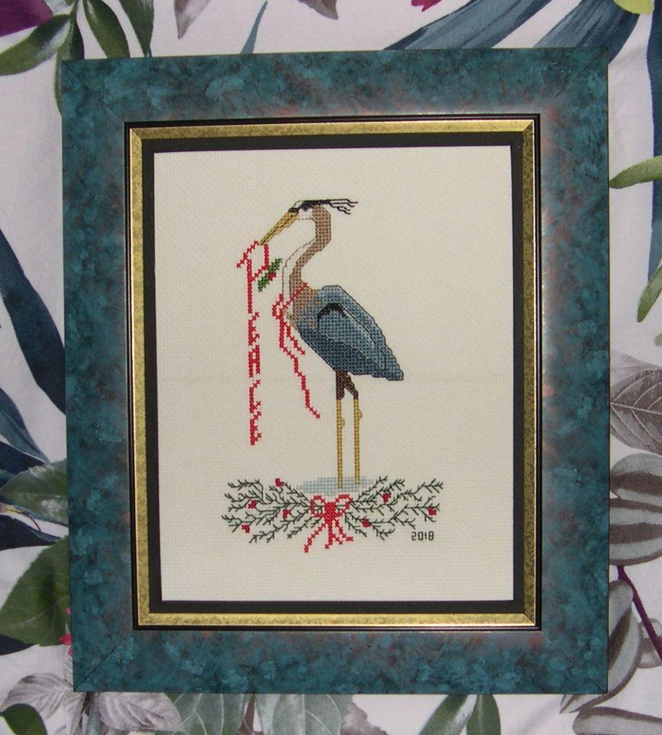 Christmas Herons framed
