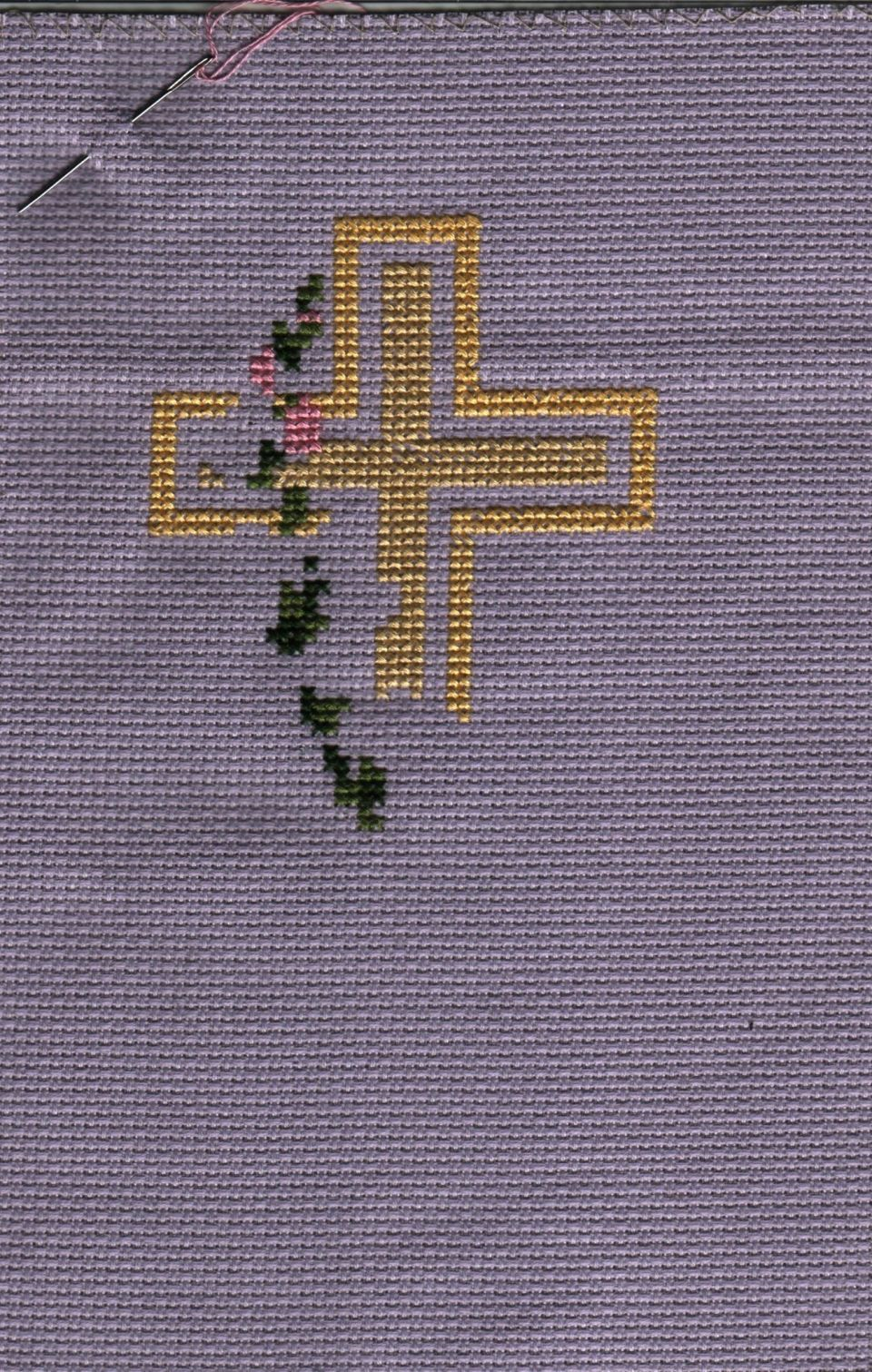 Only 3 weeks before Easter...put together this quick stitchResurrection From Sam Hawkins Sixteen Inspirationson 14 count purple aida using DMC floss